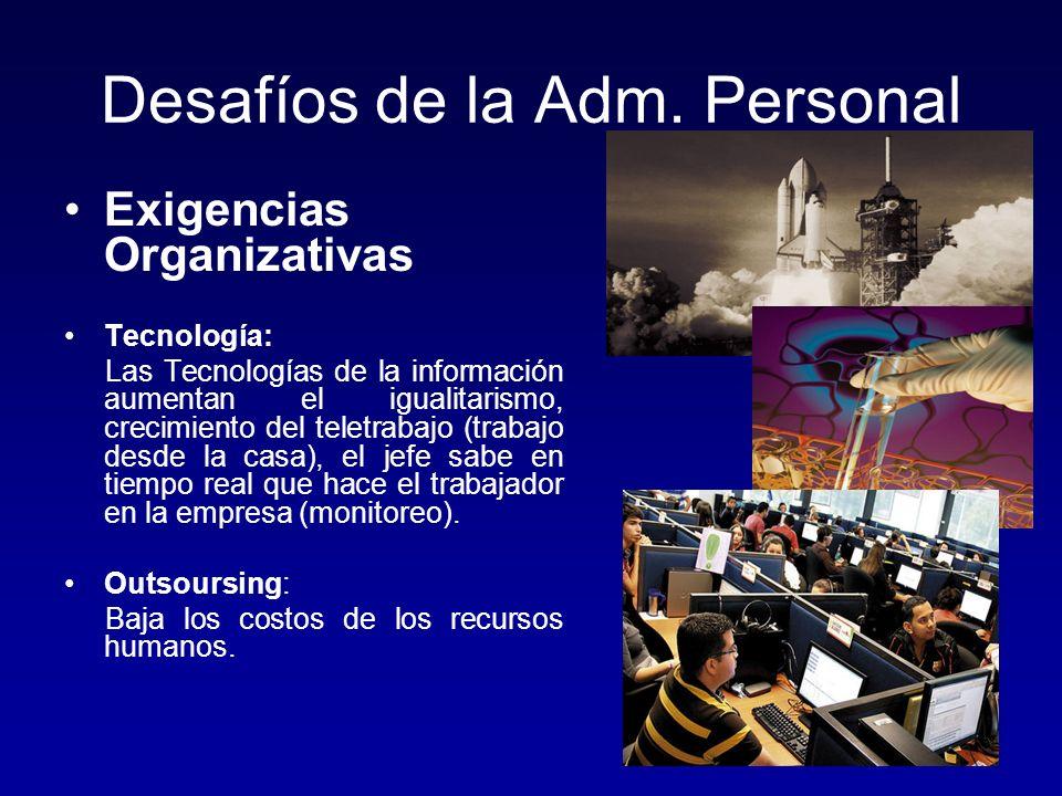 Desafíos de la Adm. Personal Exigencias Organizativas Tecnología: Las Tecnologías de la información aumentan el igualitarismo, crecimiento del teletra