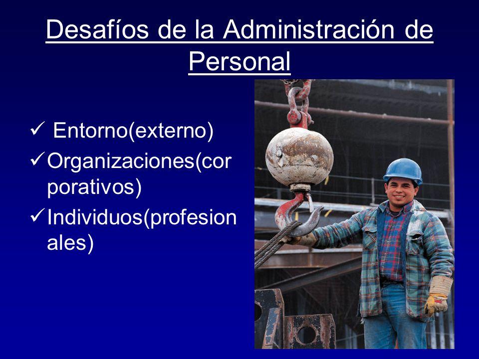Desafíos de la Administración de Personal Entorno(externo) Organizaciones(cor porativos) Individuos(profesion ales)