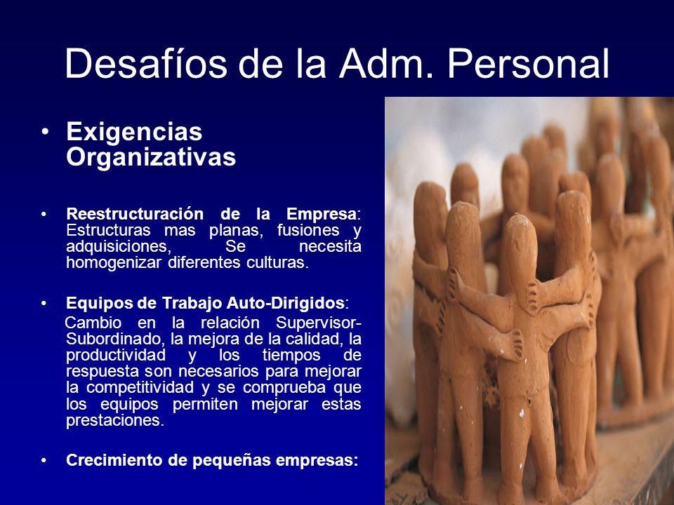 Desafíos de la Adm. Personal Exigencias Organizativas Reestructuración de la Empresa: Estructuras mas planas, fusiones y adquisiciones, Se necesita ho