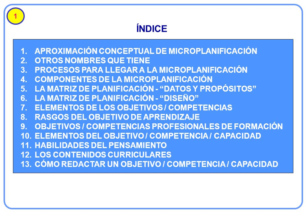 1.APROXIMACIÓN CONCEPTUAL DE MICROPLANIFICACIÓN 2.OTROS NOMBRES QUE TIENE 3.PROCESOS PARA LLEGAR A LA MICROPLANIFICACIÓN 4.COMPONENTES DE LA MICROPLAN