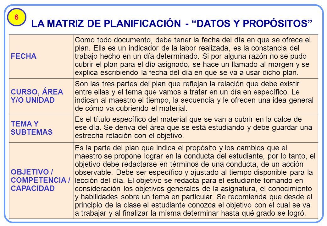 LA MATRIZ DE PLANIFICACIÓN - DATOS Y PROPÓSITOS 6 FECHA Como todo documento, debe tener la fecha del día en que se ofrece el plan. Ella es un indicado