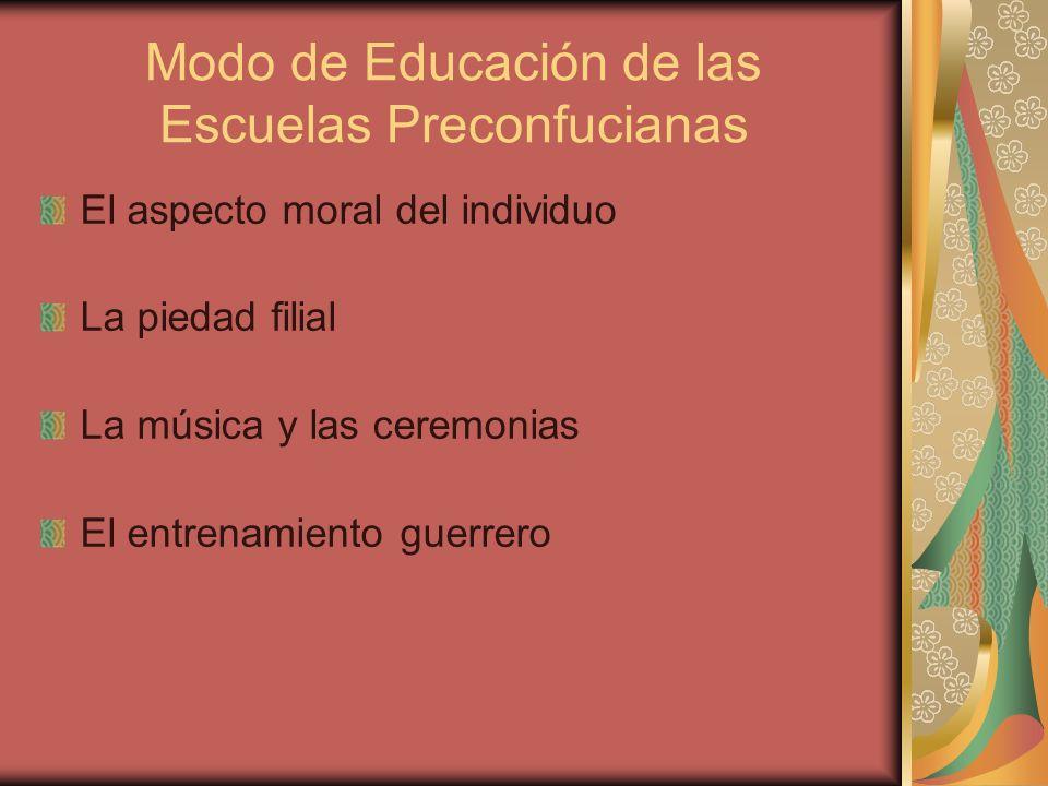 Modo de Educación de las Escuelas Preconfucianas El aspecto moral del individuo La piedad filial La música y las ceremonias El entrenamiento guerrero