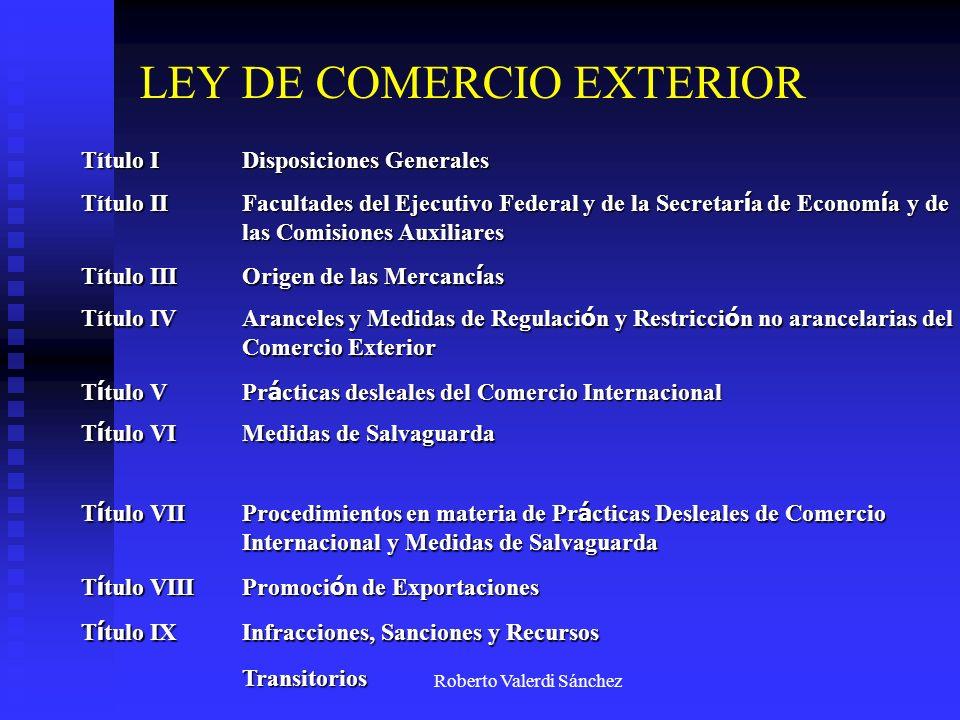 Título I Disposiciones Generales Título II Facultades del Ejecutivo Federal y de la Secretar í a de Econom í a y de las Comisiones Auxiliares Título I
