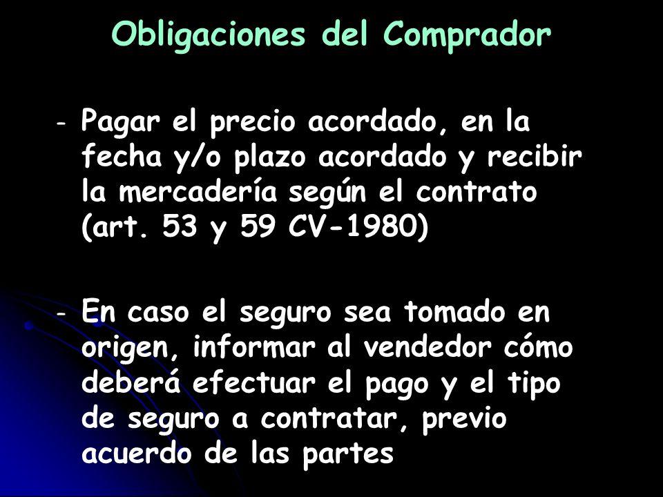 Obligaciones del Comprador – – Pagar el precio acordado, en la fecha y/o plazo acordado y recibir la mercadería según el contrato (art. 53 y 59 CV-198