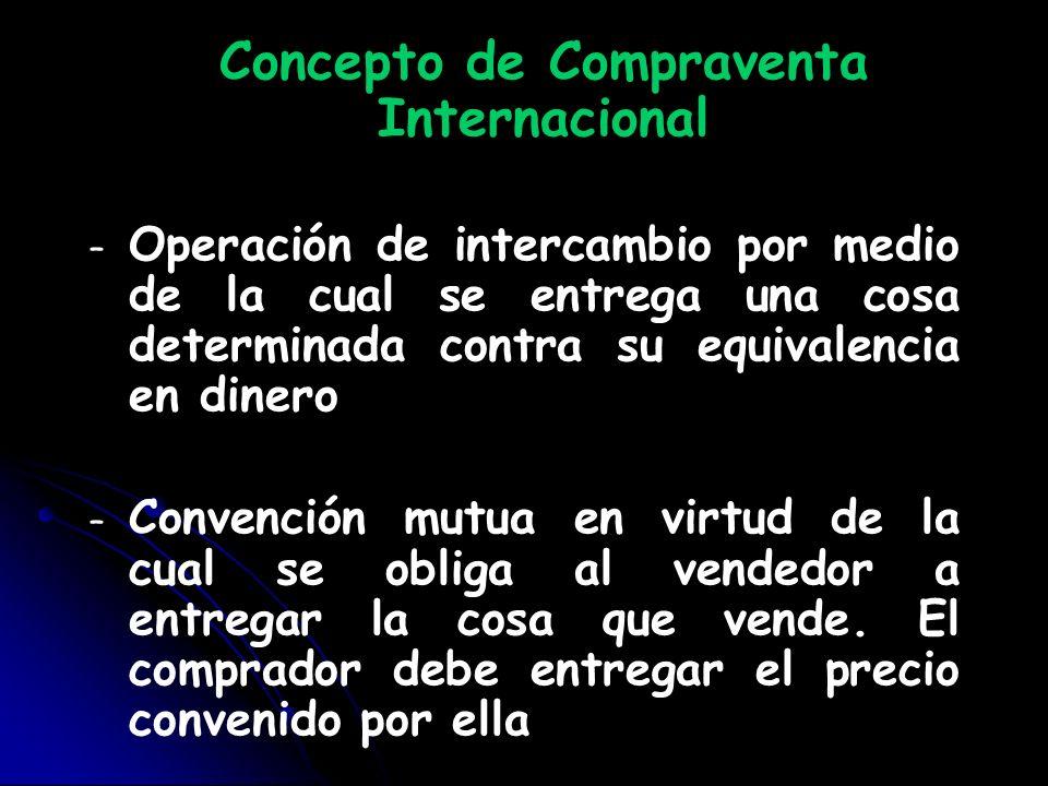 Concepto de Compraventa Internacional – – Operación de intercambio por medio de la cual se entrega una cosa determinada contra su equivalencia en dine