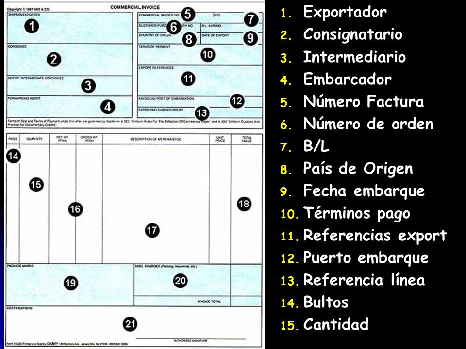 1. 1. Exportador 2. 2. Consignatario 3. 3. Intermediario 4. 4. Embarcador 5. 5. Número Factura 6. 6. Número de orden 7. 7. B/L 8. 8. País de Origen 9.