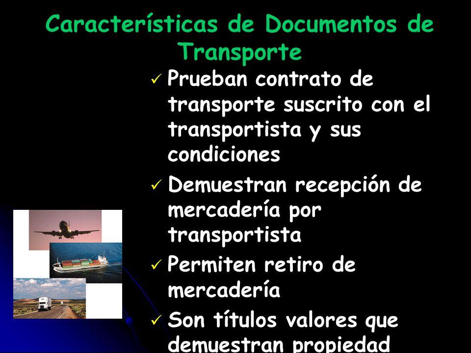 Características de Documentos de Transporte Prueban contrato de transporte suscrito con el transportista y sus condiciones Demuestran recepción de mer