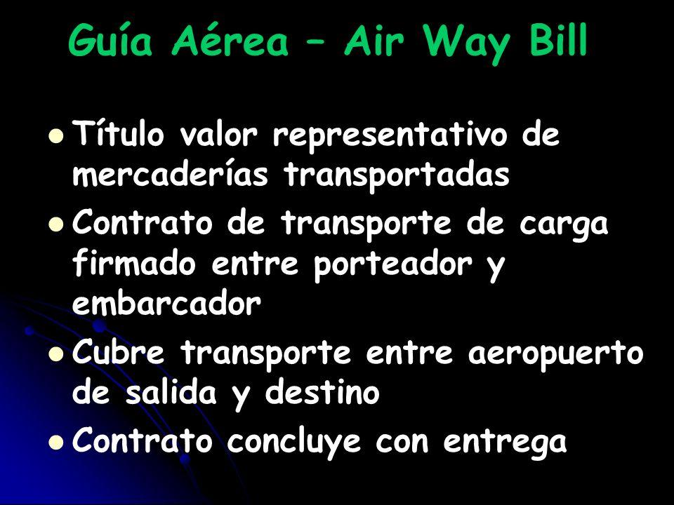 Guía Aérea – Air Way Bill Título valor representativo de mercaderías transportadas Contrato de transporte de carga firmado entre porteador y embarcado