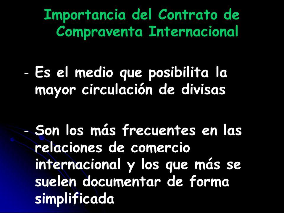Importancia del Contrato de Compraventa Internacional – – Es el medio que posibilita la mayor circulación de divisas – – Son los más frecuentes en las