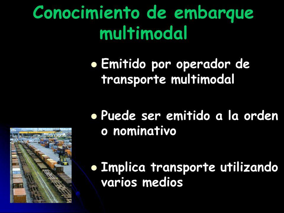 Conocimiento de embarque multimodal Emitido por operador de transporte multimodal Puede ser emitido a la orden o nominativo Implica transporte utiliza