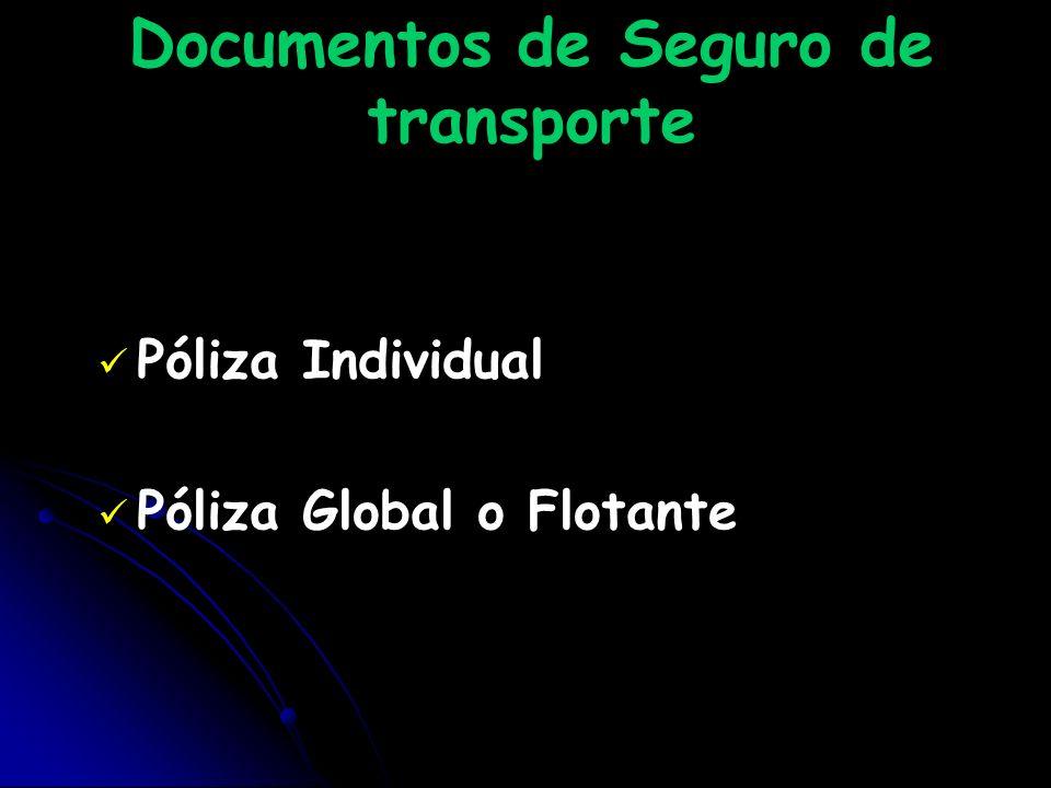 Documentos de Seguro de transporte Póliza Individual Póliza Global o Flotante