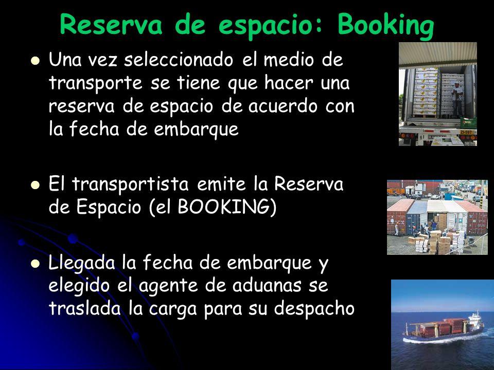Reserva de espacio: Booking Una vez seleccionado el medio de transporte se tiene que hacer una reserva de espacio de acuerdo con la fecha de embarque
