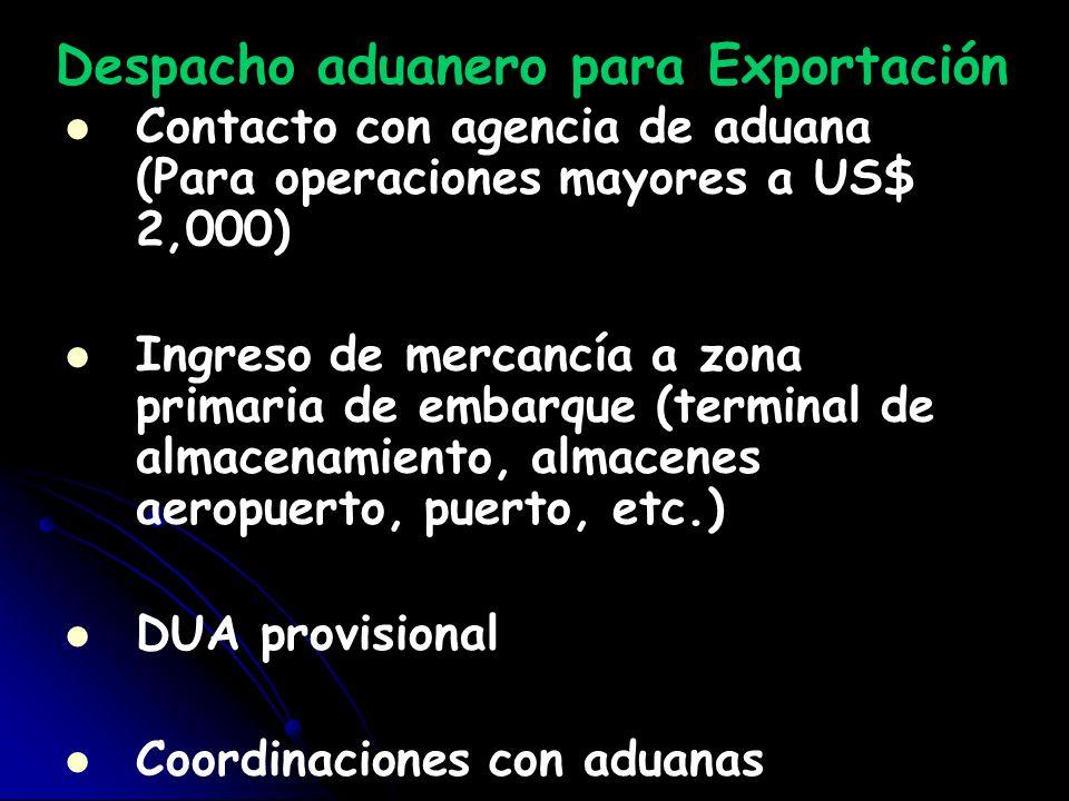 Despacho aduanero para Exportación Contacto con agencia de aduana (Para operaciones mayores a US$ 2,000) Ingreso de mercancía a zona primaria de embar