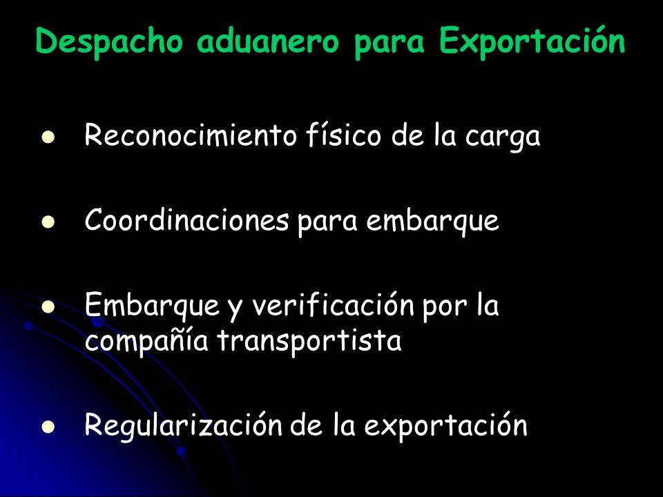 Despacho aduanero para Exportación Reconocimiento físico de la carga Coordinaciones para embarque Embarque y verificación por la compañía transportist