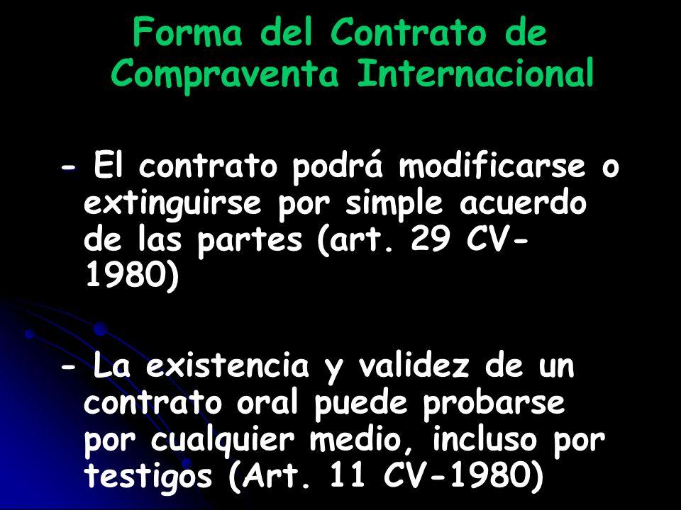 Forma del Contrato de Compraventa Internacional – – Si el contrato consta por escrito, y siempre que diga que cualquier modificación debe hacerse por escrito, el contrato no podrá modificarse ni extinguirse por mutuo acuerdo de otra forma (art.