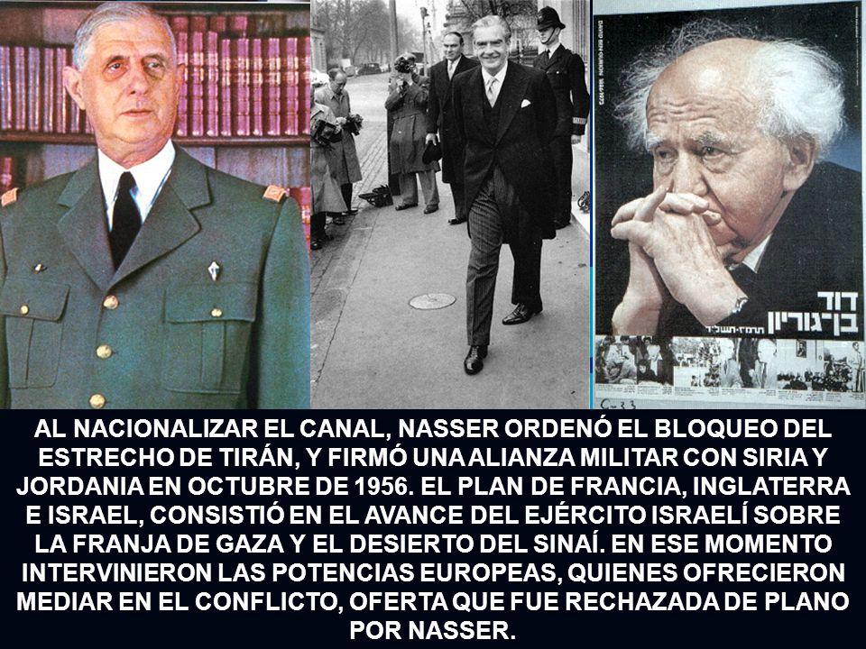 AL NACIONALIZAR EL CANAL, NASSER ORDENÓ EL BLOQUEO DEL ESTRECHO DE TIRÁN, Y FIRMÓ UNA ALIANZA MILITAR CON SIRIA Y JORDANIA EN OCTUBRE DE 1956. EL PLAN