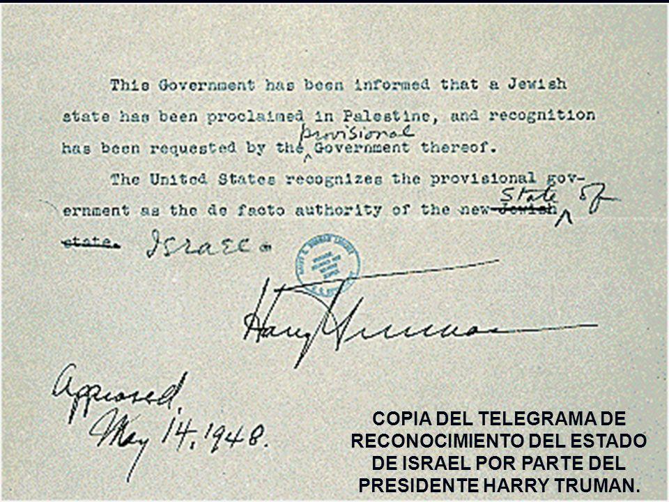 COPIA DEL TELEGRAMA DE RECONOCIMIENTO DEL ESTADO DE ISRAEL POR PARTE DEL PRESIDENTE HARRY TRUMAN.