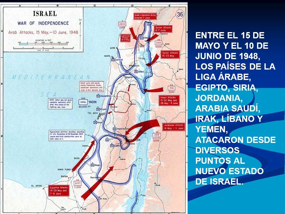 ENTRE EL 15 DE MAYO Y EL 10 DE JUNIO DE 1948, LOS PAÍSES DE LA LIGA ÁRABE, EGIPTO, SIRIA, JORDANIA, ARABIA SAUDÍ, IRAK, LÍBANO Y YEMEN, ATACARON DESDE