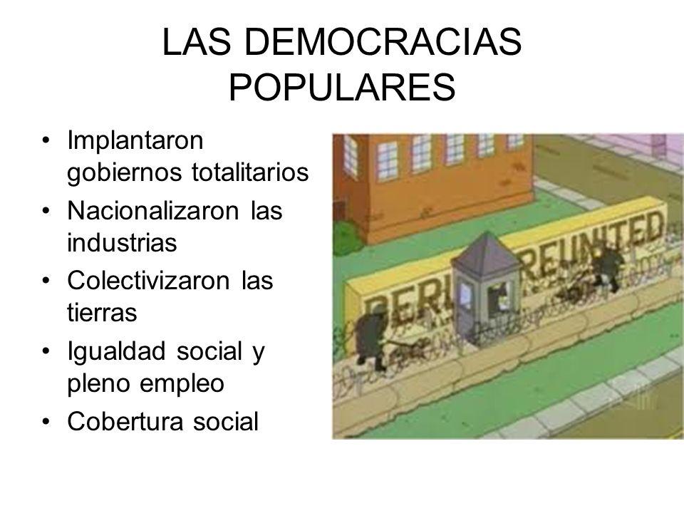 LAS DEMOCRACIAS POPULARES Implantaron gobiernos totalitarios Nacionalizaron las industrias Colectivizaron las tierras Igualdad social y pleno empleo C