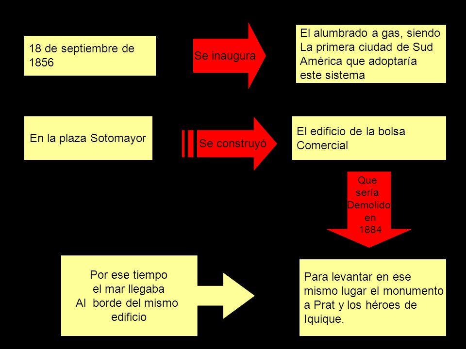 18 de septiembre de 1856 Se inaugura El alumbrado a gas, siendo La primera ciudad de Sud América que adoptaría este sistema En la plaza Sotomayor Se c
