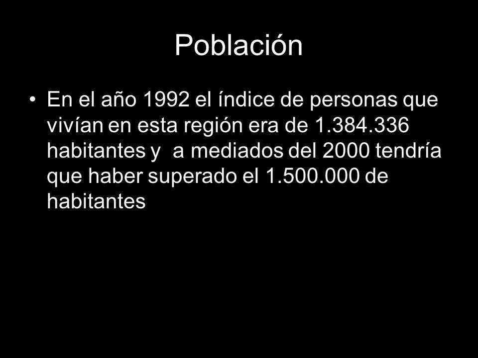 Población En el año 1992 el índice de personas que vivían en esta región era de 1.384.336 habitantes y a mediados del 2000 tendría que haber superado