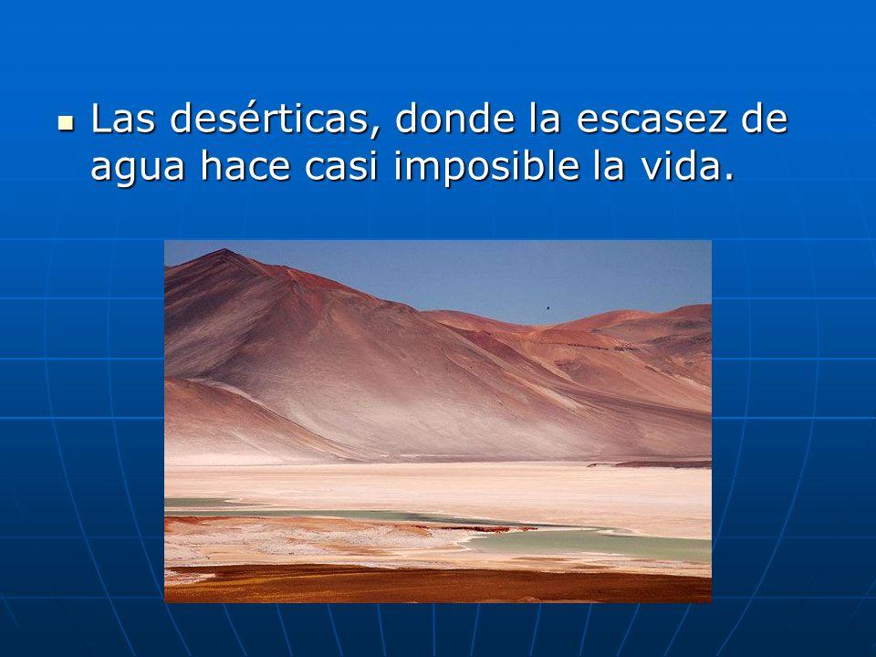 Las desérticas, donde la escasez de agua hace casi imposible la vida. Las desérticas, donde la escasez de agua hace casi imposible la vida.
