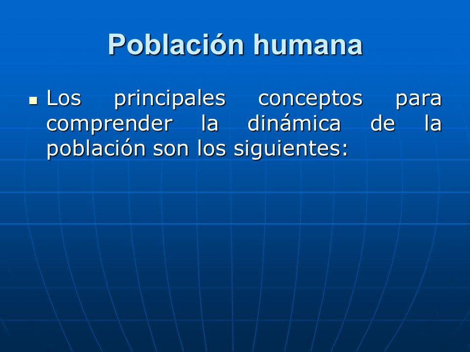 Población humana Los principales conceptos para comprender la dinámica de la población son los siguientes: Los principales conceptos para comprender l