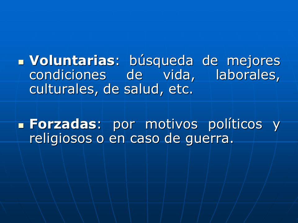 Voluntarias: búsqueda de mejores condiciones de vida, laborales, culturales, de salud, etc. Voluntarias: búsqueda de mejores condiciones de vida, labo