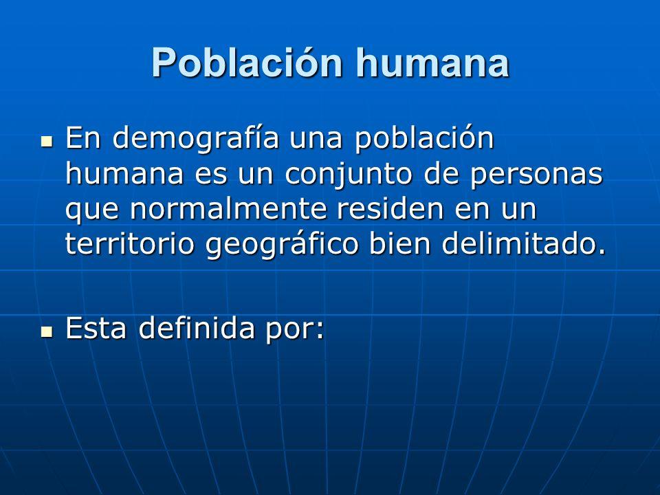 Población humana Dimensión: También llamada tamaño o volumen de la población, siendo el número de personas que integran dicha población.