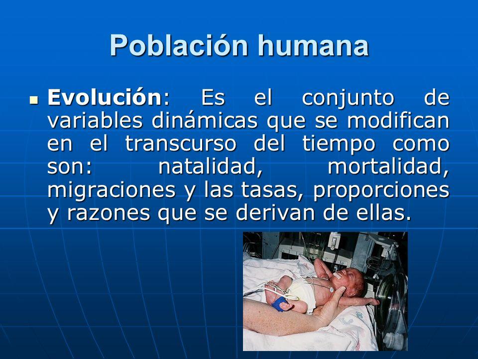 Población humana Evolución: Es el conjunto de variables dinámicas que se modifican en el transcurso del tiempo como son: natalidad, mortalidad, migrac