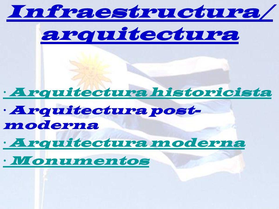 Infraestructura/ arquitectura · Arquitectura historicista · Arquitectura post- moderna · Arquitectura moderna · Monumentos
