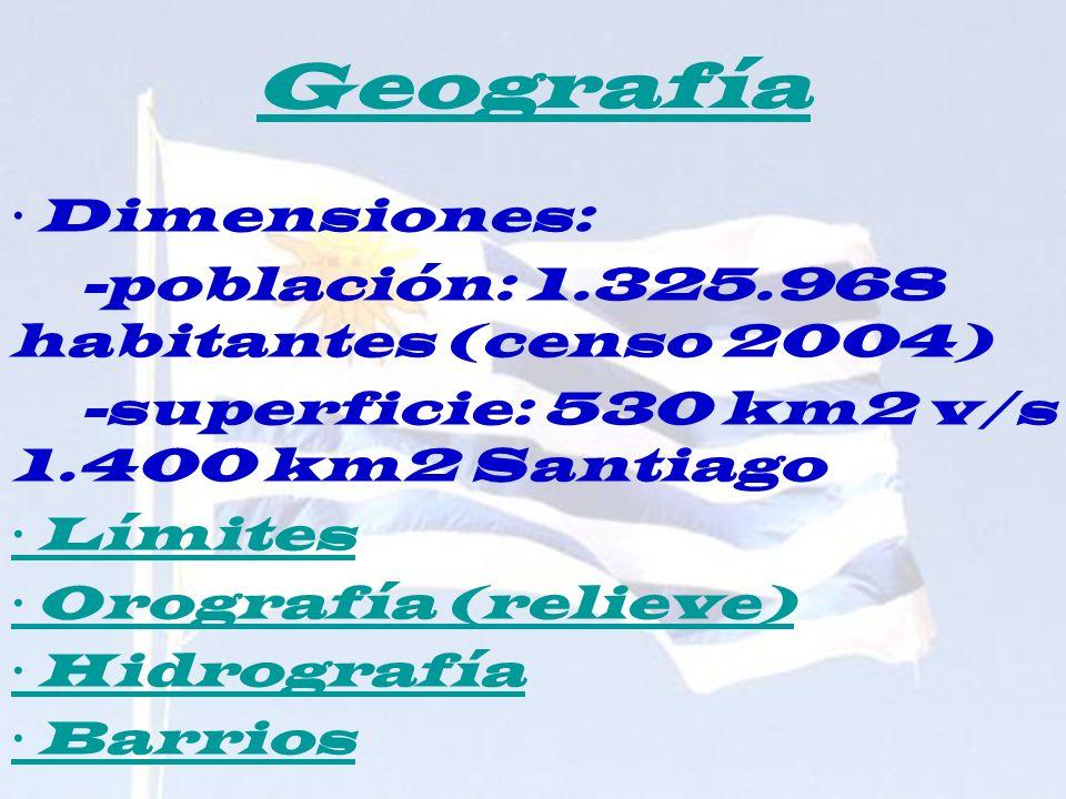 Geografía · Dimensiones: -población: 1.325.968 habitantes (censo 2004) -superficie: 530 km2 v/s 1.400 km2 Santiago · Límites · Orografía (relieve) · H