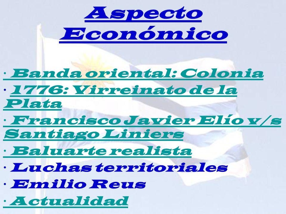 Aspecto Económico · Banda oriental: Colonia · 1776: Virreinato de la Plata1776: Virreinato de la Plata · Francisco Javier Elío v/s Santiago Liniers ·