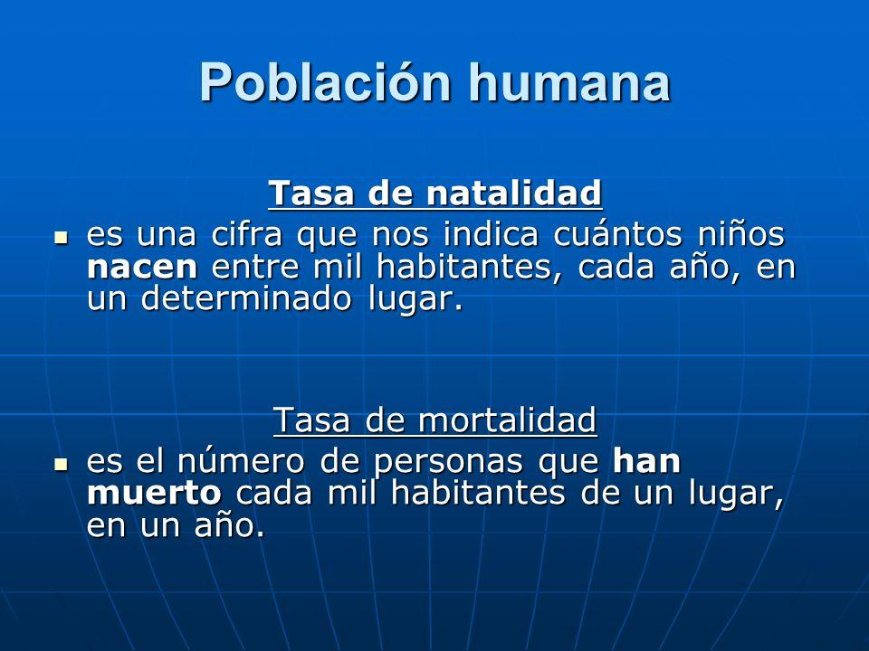 Población humana Tasa de natalidad es una cifra que nos indica cuántos niños nacen entre mil habitantes, cada año, en un determinado lugar. es una cif