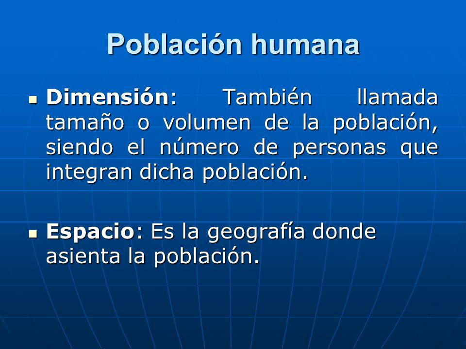 Población humana Dimensión: También llamada tamaño o volumen de la población, siendo el número de personas que integran dicha población. Dimensión: Ta