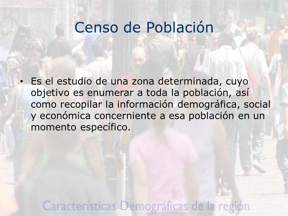 Censo de Población Es el estudio de una zona determinada, cuyo objetivo es enumerar a toda la población, así como recopilar la información demográfica, social y económica concerniente a esa población en un momento específico.