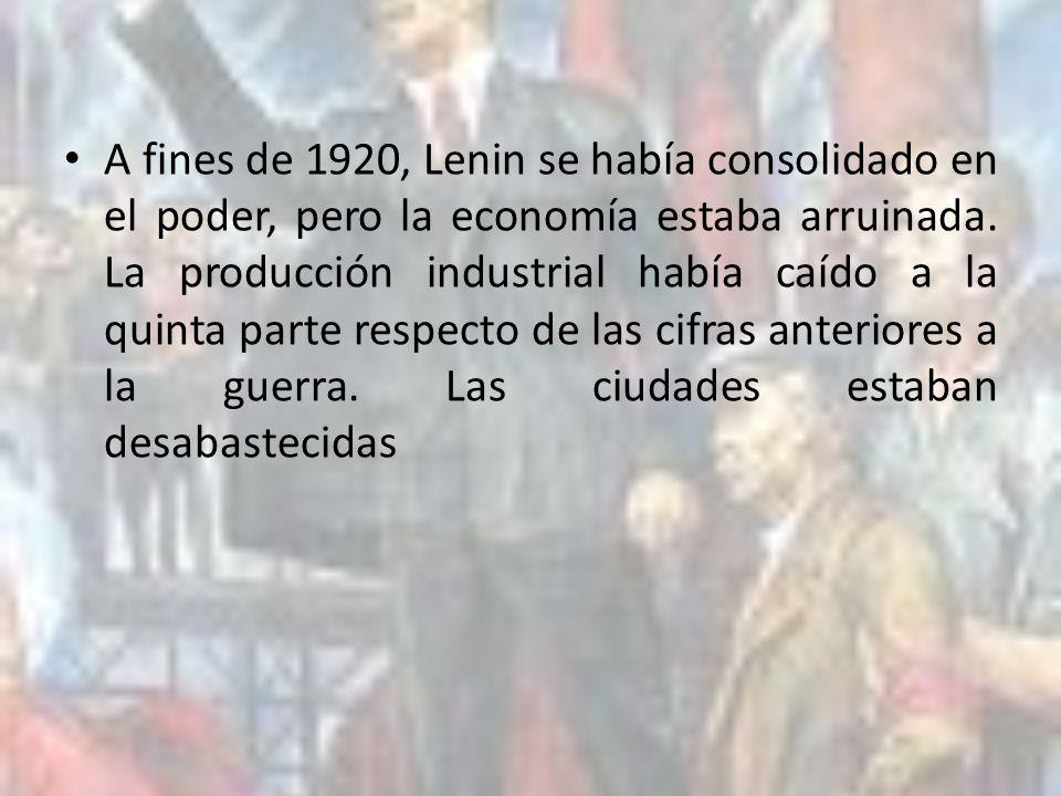 A fines de 1920, Lenin se había consolidado en el poder, pero la economía estaba arruinada. La producción industrial había caído a la quinta parte res