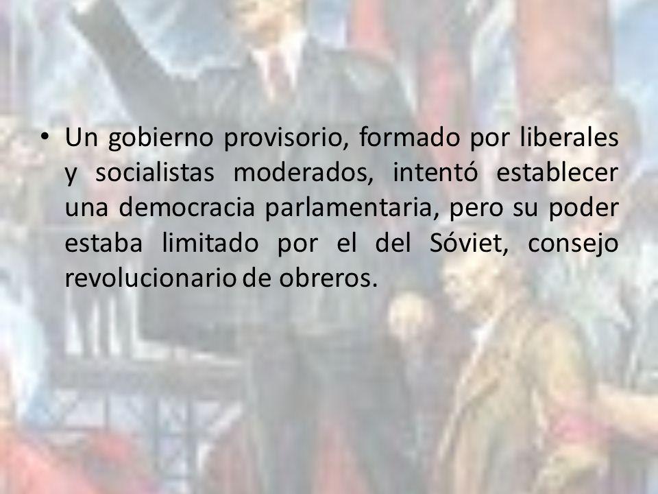 Un gobierno provisorio, formado por liberales y socialistas moderados, intentó establecer una democracia parlamentaria, pero su poder estaba limitado