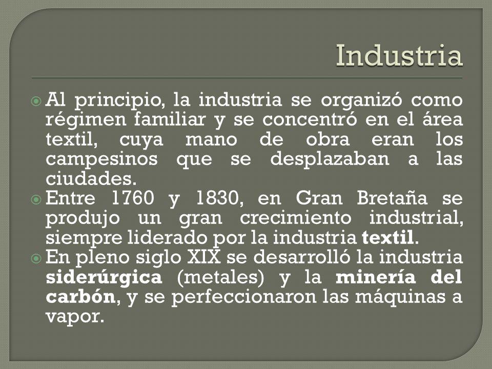 Al principio, la industria se organizó como régimen familiar y se concentró en el área textil, cuya mano de obra eran los campesinos que se desplazaba