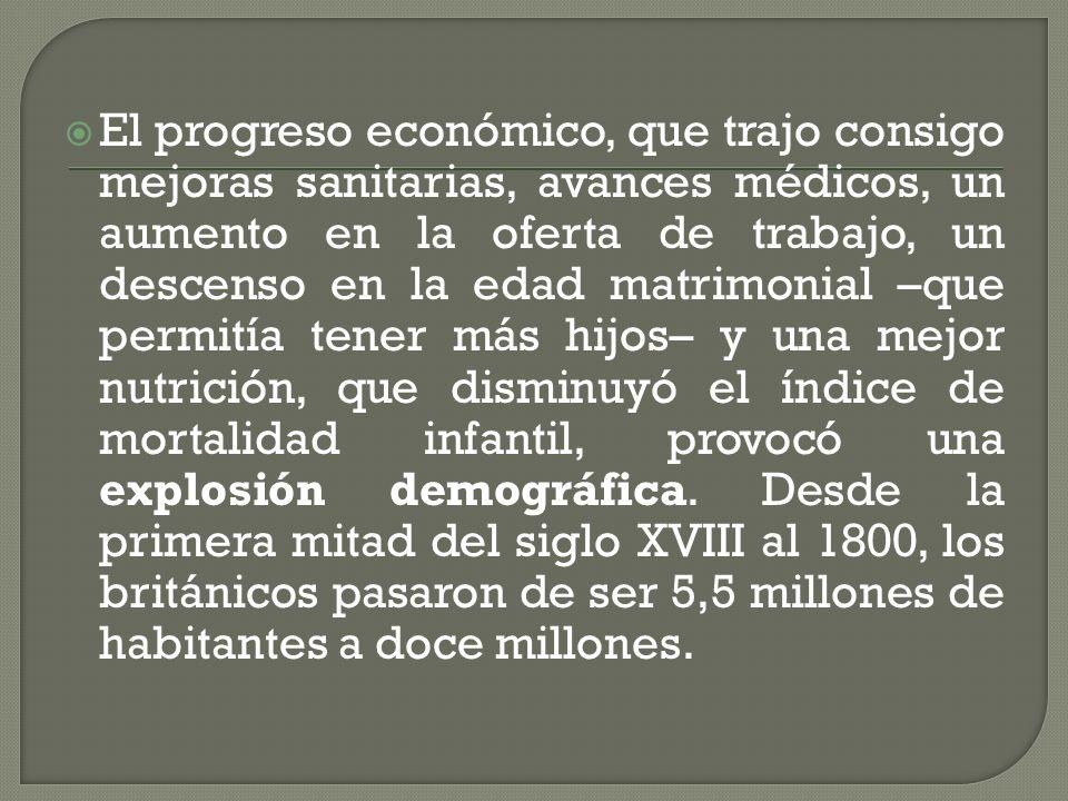El progreso económico, que trajo consigo mejoras sanitarias, avances médicos, un aumento en la oferta de trabajo, un descenso en la edad matrimonial –