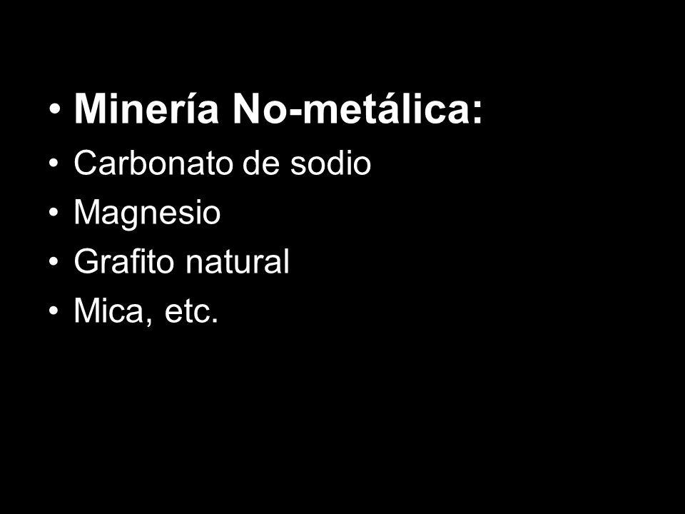 Minería No-metálica: Carbonato de sodio Magnesio Grafito natural Mica, etc.