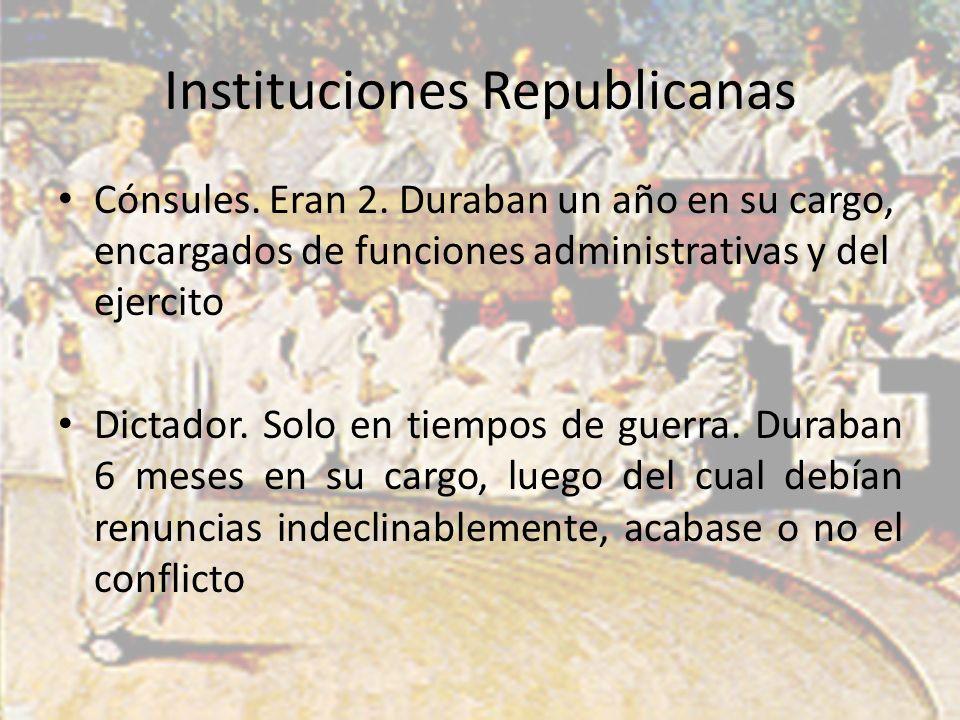 Instituciones Republicanas Cónsules. Eran 2.