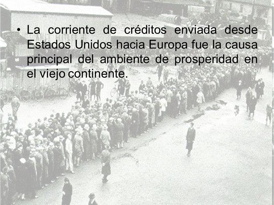La corriente de créditos enviada desde Estados Unidos hacia Europa fue la causa principal del ambiente de prosperidad en el viejo continente.
