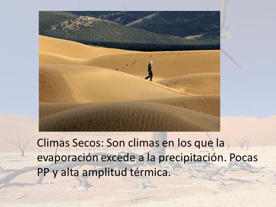 Climas Secos: Son climas en los que la evaporación excede a la precipitación. Pocas PP y alta amplitud térmica.