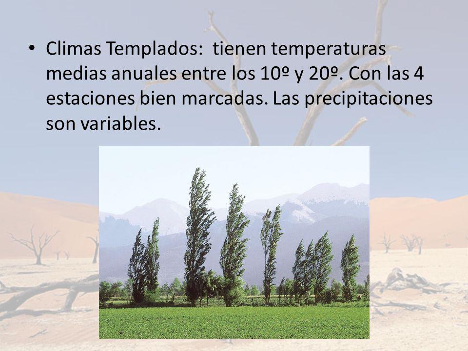 Climas Templados: tienen temperaturas medias anuales entre los 10º y 20º. Con las 4 estaciones bien marcadas. Las precipitaciones son variables.