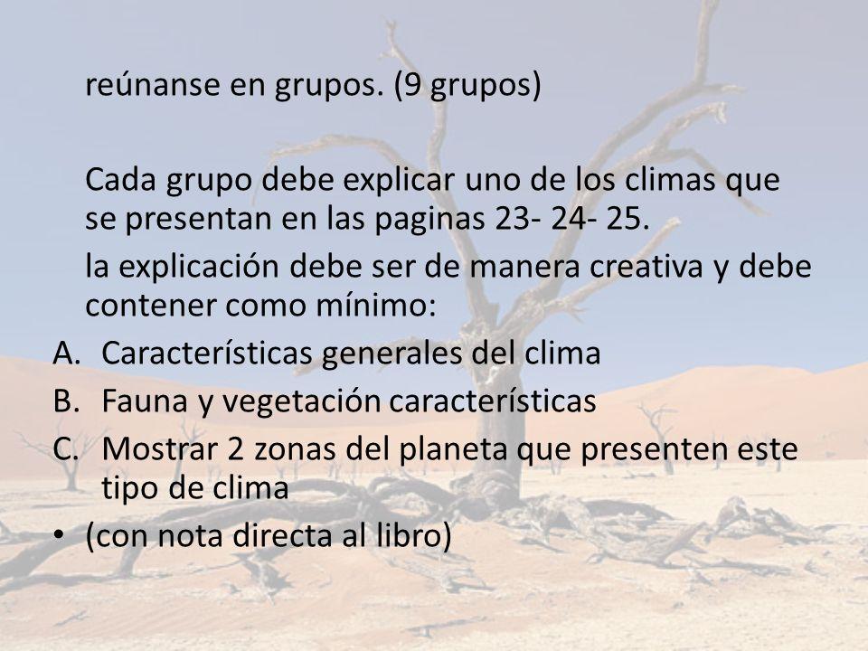 reúnanse en grupos. (9 grupos) Cada grupo debe explicar uno de los climas que se presentan en las paginas 23- 24- 25. la explicación debe ser de maner