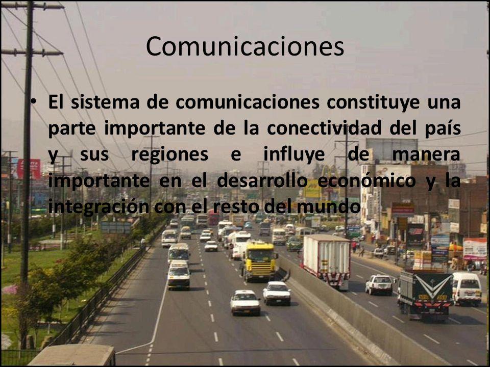 Comunicaciones El sistema de comunicaciones constituye una parte importante de la conectividad del país y sus regiones e influye de manera importante