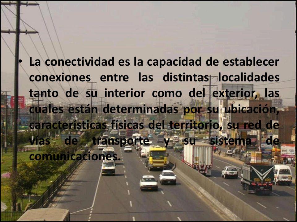 La conectividad es la capacidad de establecer conexiones entre las distintas localidades tanto de su interior como del exterior, las cuales están dete