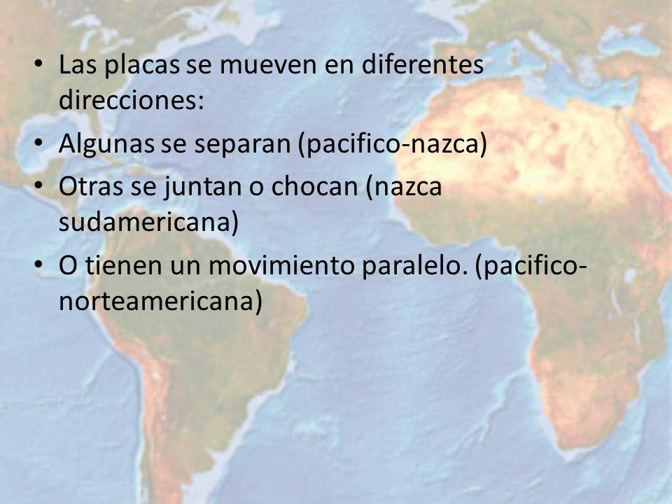 Las placas se mueven en diferentes direcciones: Algunas se separan (pacifico-nazca) Otras se juntan o chocan (nazca sudamericana) O tienen un movimien