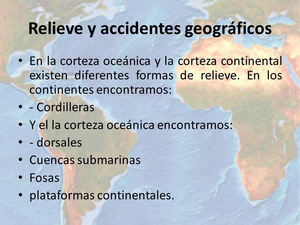Relieve y accidentes geográficos En la corteza oceánica y la corteza continental existen diferentes formas de relieve. En los continentes encontramos: